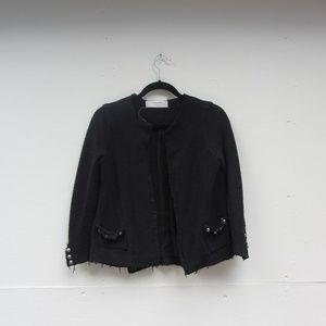 Zara Knit Black Open Crop Blazer Sweater